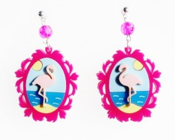 flamingo cameo earrings
