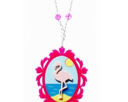 flamingo cameo necklace
